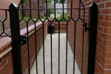Completed gothic gate - the welds were styled to mirror the leadwork in the clinet\'s windows